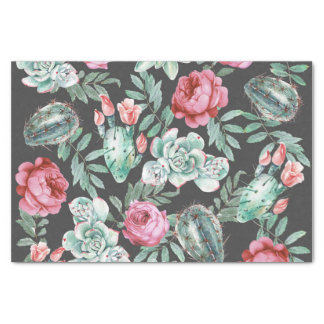 Pink Roses and Succulent Cactus Pattern on Black Tissue Paper