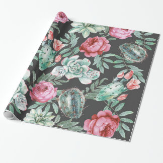 Pink Roses and Succulent Cactus Pattern on Black Wrapping Paper
