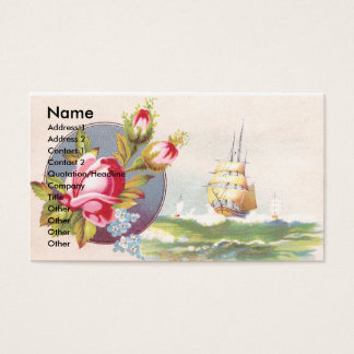 Pink Roses and Tall Ship Victorian Trade Card