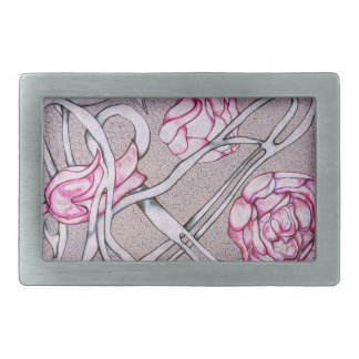 Pink Roses and Thorns Rectangular Belt Buckles