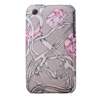 Pink Roses and Thorns. iPhone 3 Case