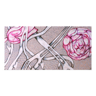 Pink Roses and Thorns. Custom Photo Card