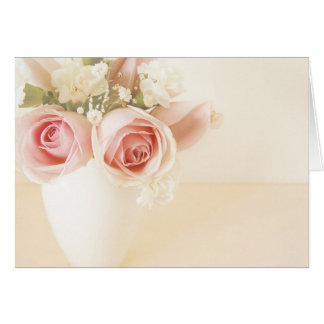 Pink roses and white carnations card