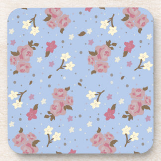 Pink Roses and White Flowers on Baby Blue Beverage Coaster