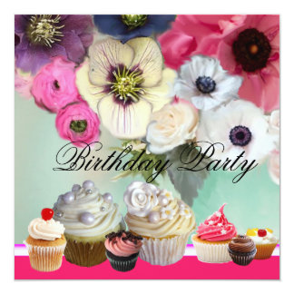 PINK ROSES ANEMONE FLOWERS AND CUPCAKES Birthday Card