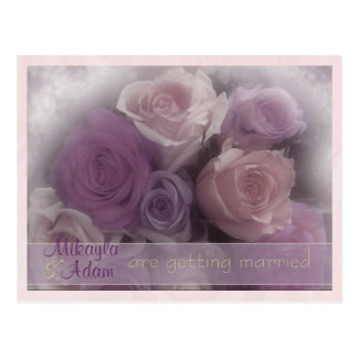 pink roses announcement postcard