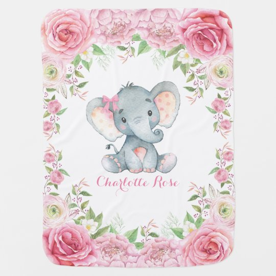 Pink Roses Baby Elephant Nursery Blanket
