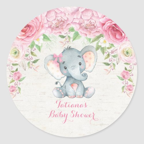 Pink Roses Baby Elephant Thank You Sticker Favors