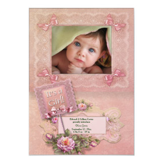 "Pink Roses Baby Girl Birth Announceme 5"" X 7"" Invitation Card"