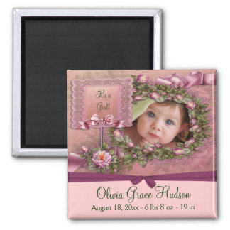Pink Roses Baby Girl Photo Birth Magnets