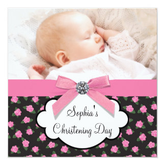 Pink Roses Baby Girl Photo Christening Card