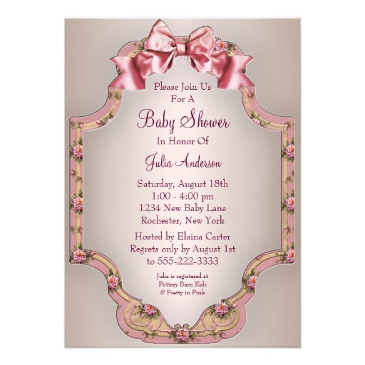 pink roses baby girl shower invitations 5 x 7 invitation card