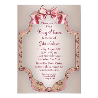 """Pink Roses Baby Girl Shower Invitations 5"""" X 7"""" Invitation Card"""