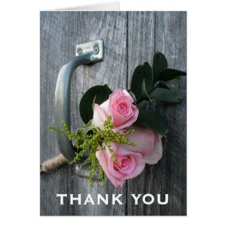 Pink Roses & Barn Door Thank You Card
