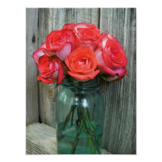 Pink Roses & Barnwood Posters