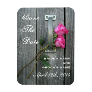 Pink Roses & Barnwood Save The Date Magnet