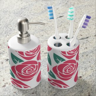 Pink Roses Bathroom Set