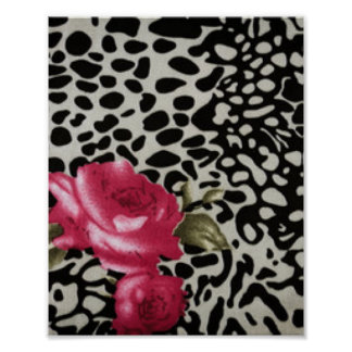 Pink Roses Black White Leopard Animal Design Poster