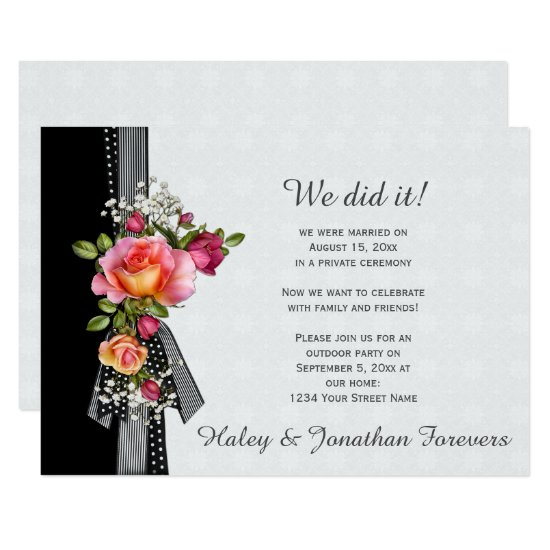Pink Roses Black White Ribbon Weddings Receptions Invitation