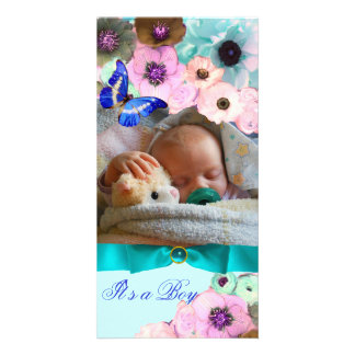 PINK ROSES ,BLUE BUTTERFLY NEW BABY PHOTO TEMPLATE PHOTO CARD