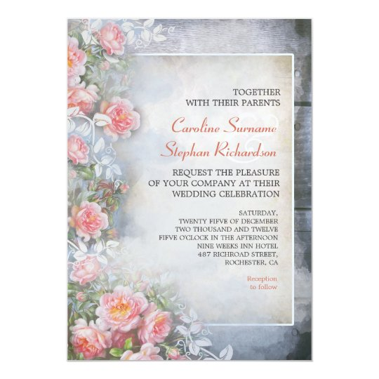 pink roses blue rustic wedding invitations