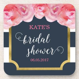 Pink Roses Blue Stripes Bridal Shower Coaster