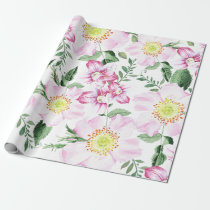 Pink Roses Boho Watercolor Floral Pattern Wrapping Paper