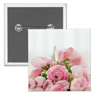 Pink Roses Bouquet Button