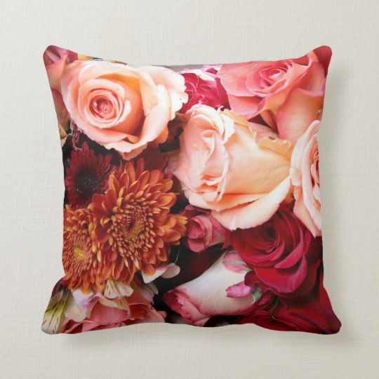 Pink Roses Bouquet Throw Pillow