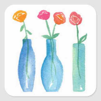 Pink Roses Bouquet Watercolor Flowers Square Sticker