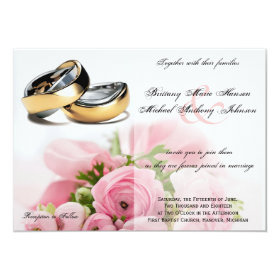 Pink Roses Bouquet with Rings Wedding Invitation 4.5