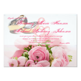 Pink Roses Bouquet with Wedding Rings Invitation 4.5