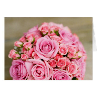 Pink Roses Bridal Bouquet Card