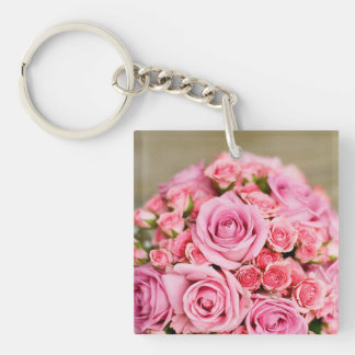 Pink Roses Bridal Bouquet Square Acrylic Keychains