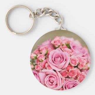 Pink Roses Bridal Bouquet Keychain
