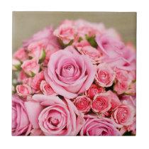 Pink Roses Bridal Bouquet Tile