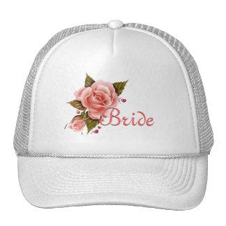 Pink Roses Bride Baseball cap Mesh Hats
