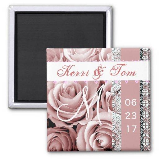 PINK Roses Bride Groom Wedding Magnet