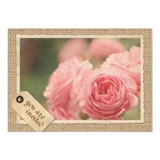 Pink Roses Burlap Vintage Paper Frame Travel Tag 5x7 Paper Invitation Card