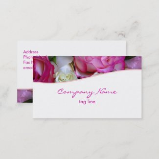 Pink Roses Business Card