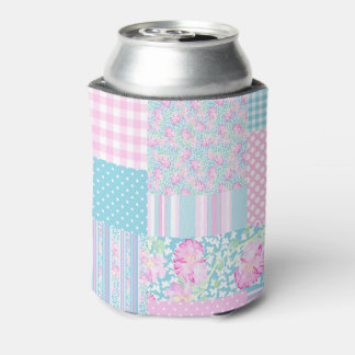 Pink Roses Butterflies Faux Patchwork Can Cooler