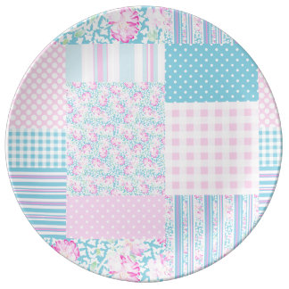Pink Roses Butterflies Faux Patchwork China Plate Porcelain Plate