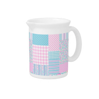 Pink Roses, Butterflies Faux Patchwork Pitcher