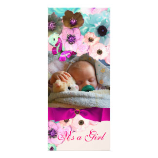 PINK ROSES BUTTERFLY BABY SHOWER PHOTO TEMPLATE PERSONALIZED INVITATIONS
