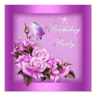 Pink Roses Butterfly Floral Birthday Party Card