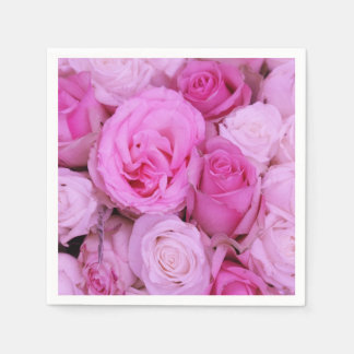 Pink roses by Therosegarden Paper Napkin