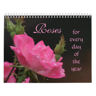 Pink Roses Calendar-EDIT YEAR if not current