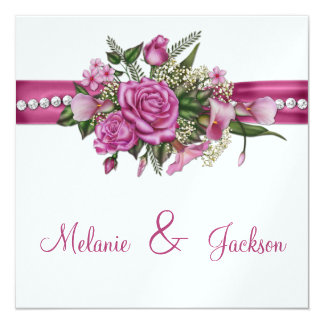 Pink Roses Callas Buds After Wedding Celebration Personalized Announcement