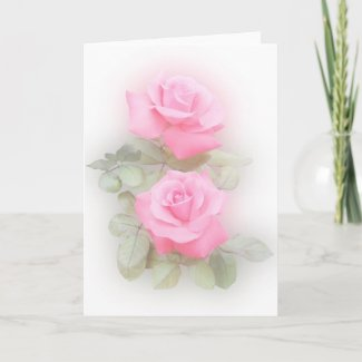 Pink Roses Card card