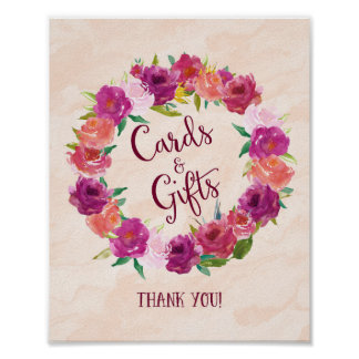 Pink Roses Cards and Gifts Wedding Poster Print